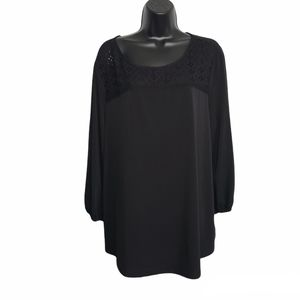 1X Adrianna papell Black Lace keyhole Blouse